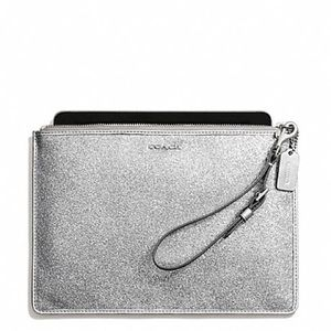 NWT Coach Glitter Silver Flat Case Wristlet Bag